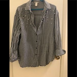 H&M gingham top with decoration